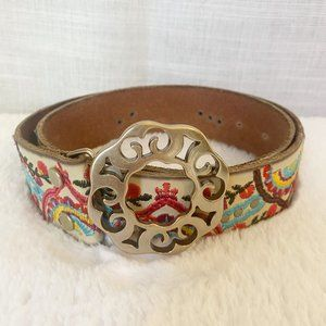 LUCKY BRAND Embroidered Leather Belt Small